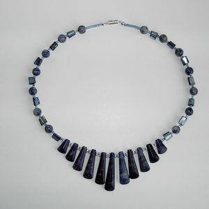 """Natural Sodalite, Shell 18"""" necklace (#227)"""